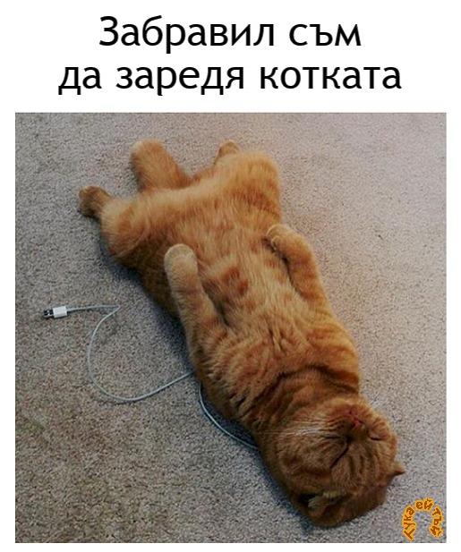 Забравил съм да заредя котката...