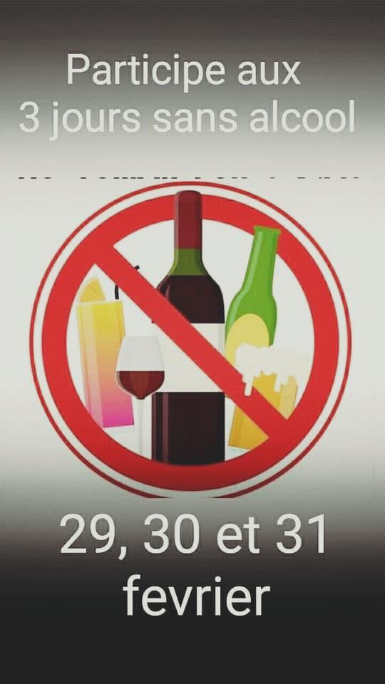 Participe aux 3 jours sans alcool 29, 30 et 31 ferier
