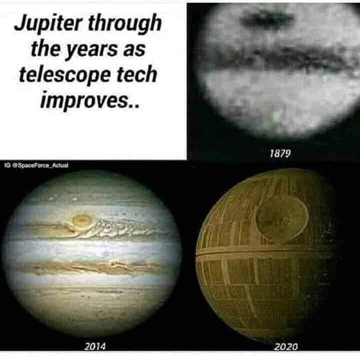 Jupiter through the years as telescope tech improves..