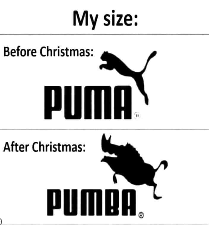 My size, before and after Christmas