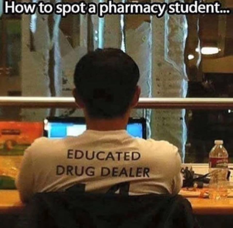Now to spot a pharmacy student..