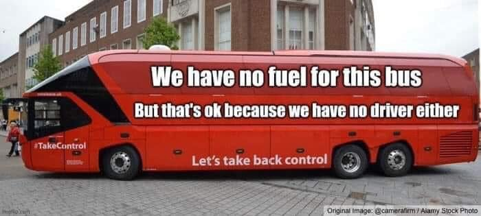 We haue no fuel for this bus.  But thars ok because we have no driver either