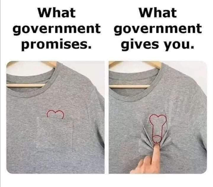 What government promises and what actually government gives you