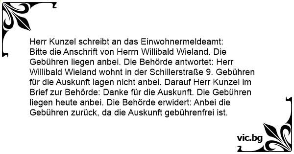 Herr Kunzel Schreibt An Das Einwohnermeldeamt
